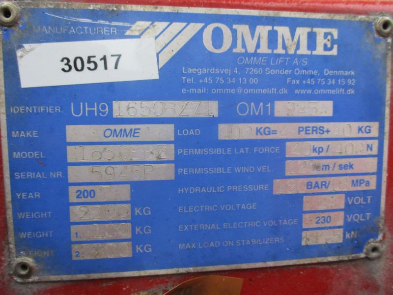 Omme trailerlift 16,5 meter - 18