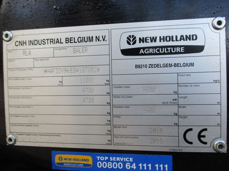 New Holland BB 890 Plus Bigballe Presser med Parklandvogn / Baler with trailer - 52