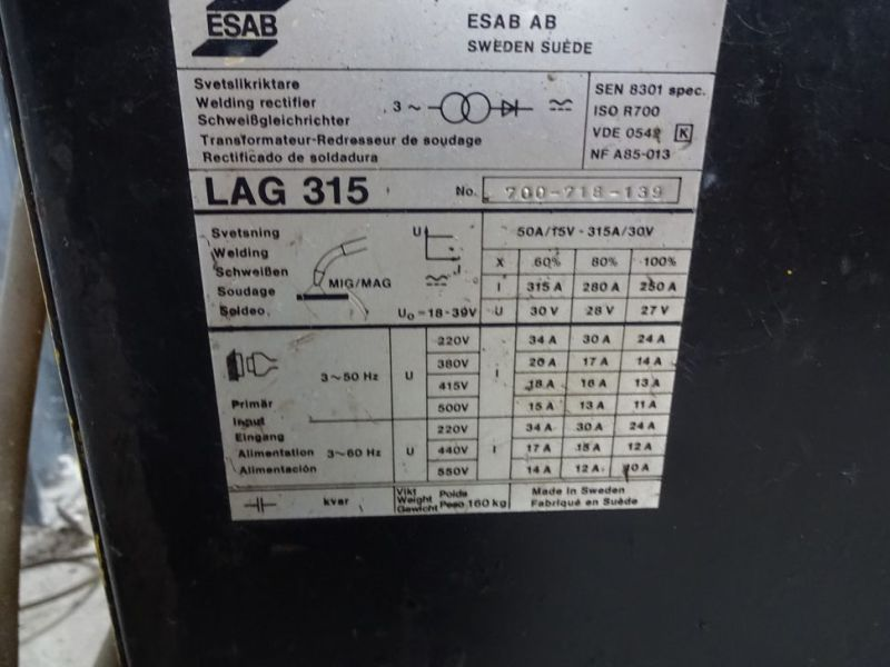 Esab LAG 315 CO2 svejseværk / welding machine      - 3