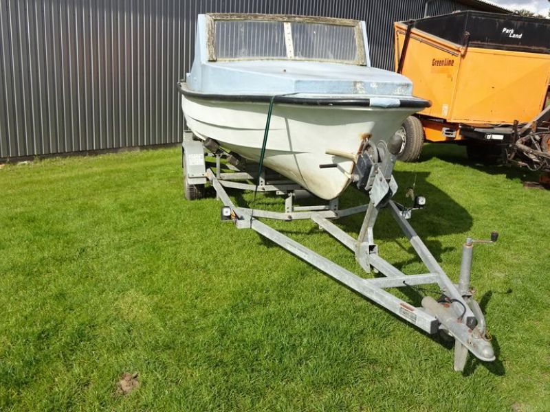 Bådtrailer med båd og motor / Boat trailer with boat and motor. - 2