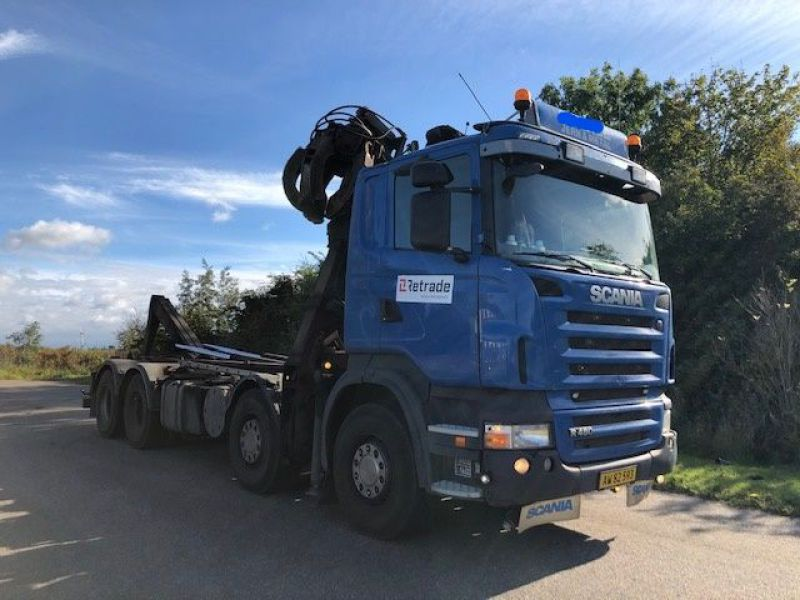 Scania R480 med kran og kroghejs / Hook lift  truck with crane - 13