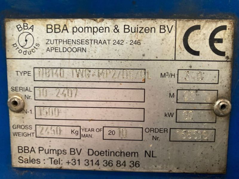 340m3 BBA NB140 Pumpe / Pump - 10